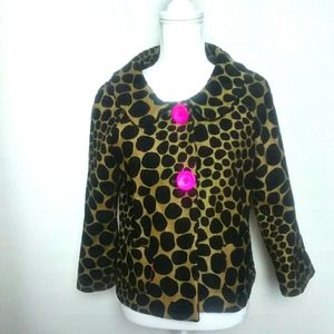 3 Sisters Cropped Quarter Sleeve Animal Print Coat